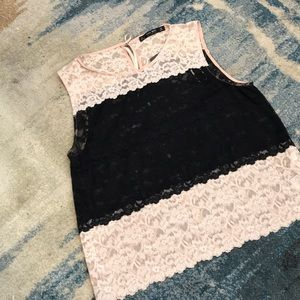 New with Tags Zara lace color block sleeveless top